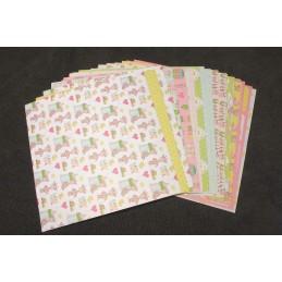 Lot de 12 x 2 Papiers Scrapbooking de type Girafle pour enfant 15,2 x 15,2 cm