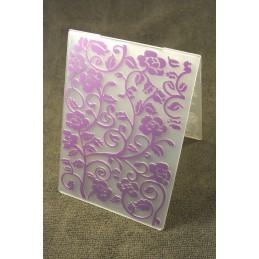 """Classeur de gaufrage en plastique motif """" fleurs en voluptes """" format 14.5*10.6*0.3 cm"""