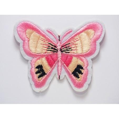 APPLIQUE TISSU THERMOCOLLANT : papillon rose/ecru/noir