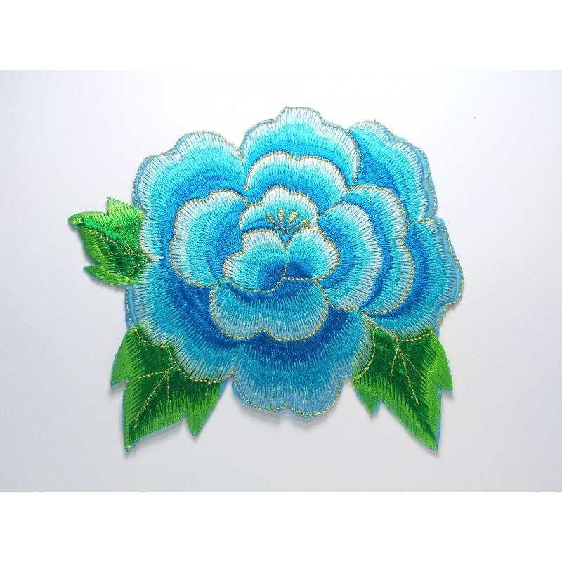 APPLIQUE TISSU THERMOCOLLANT : fleur bleu/dorée 140 x120mm
