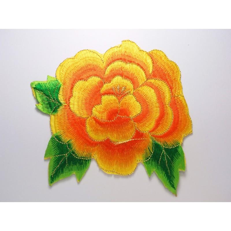 APPLIQUE TISSU THERMOCOLLANT : fleur orange/dorée 140 x120mm