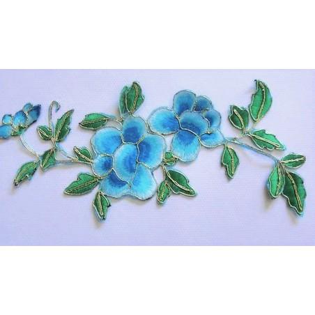 APPLIQUE TISSU THERMOCOLLANT : fleur bleue/dorée 240 x100mm