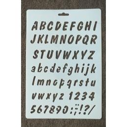 """POCHOIR  plastique Format 17,5 x 26 cm style"""" Alphabet et chiffres """""""