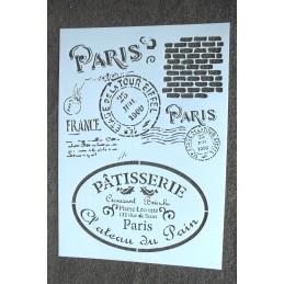 POCHOIR format A4 plastique en VINYLE commerce et poste du vieux Paris