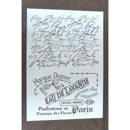POCHOIR  plastique Format A4 style eau de Lavande, esprit provence et texte manuscrit