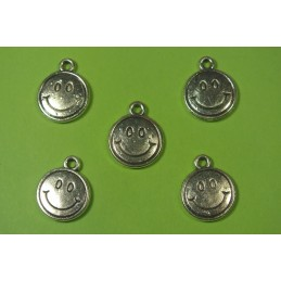 LOT  5 BRELOQUES/CHARMS METAL argenté : Smiley 13 mm