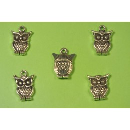 LOT 5 BRELOQUES/CHARMS METAL argenté : Chouette 16 * 12 mm