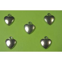 LOT  5 BRELOQUES/CHARMS METAL argenté : Coeur 11 mm