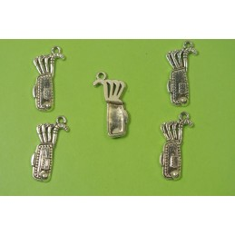 LOT 5 BRELOQUES/CHARMS METAL argenté : Golf 25 * 11 mm