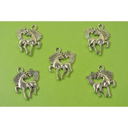LOT 5 BRELOQUES/CHARMS METAL argenté : cheval licorne 19 * 15 mm