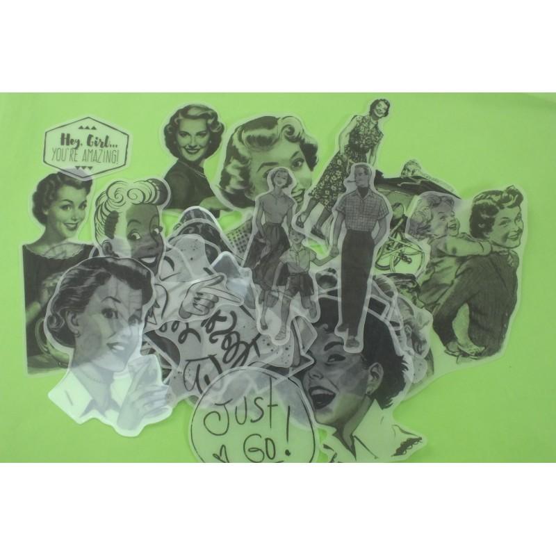 LOT DE 34 STICKERS Vintage de numéro , dimension  5 à 12 cm en noir et blanc