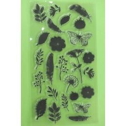25 Tampons en silicone transparent motifs : feuiles , plumes , papillon