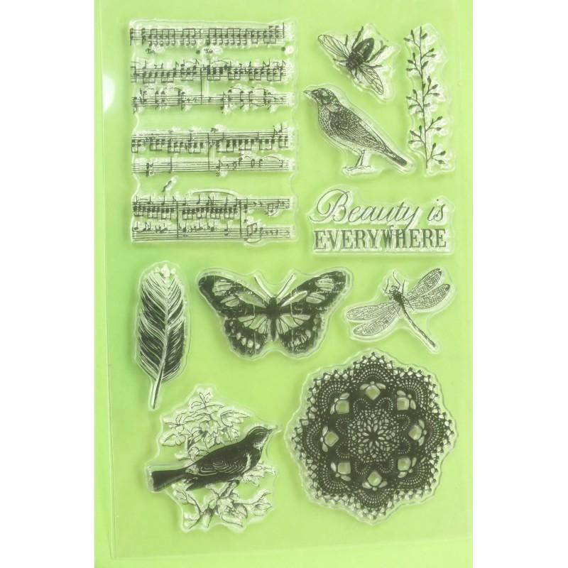5 Tampons en silicone transparent  motifs :  Fleurs tournesol , pivoine ..
