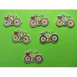 LOT 6 BOUTONS BOIS : vélo multicolore 31*20mm