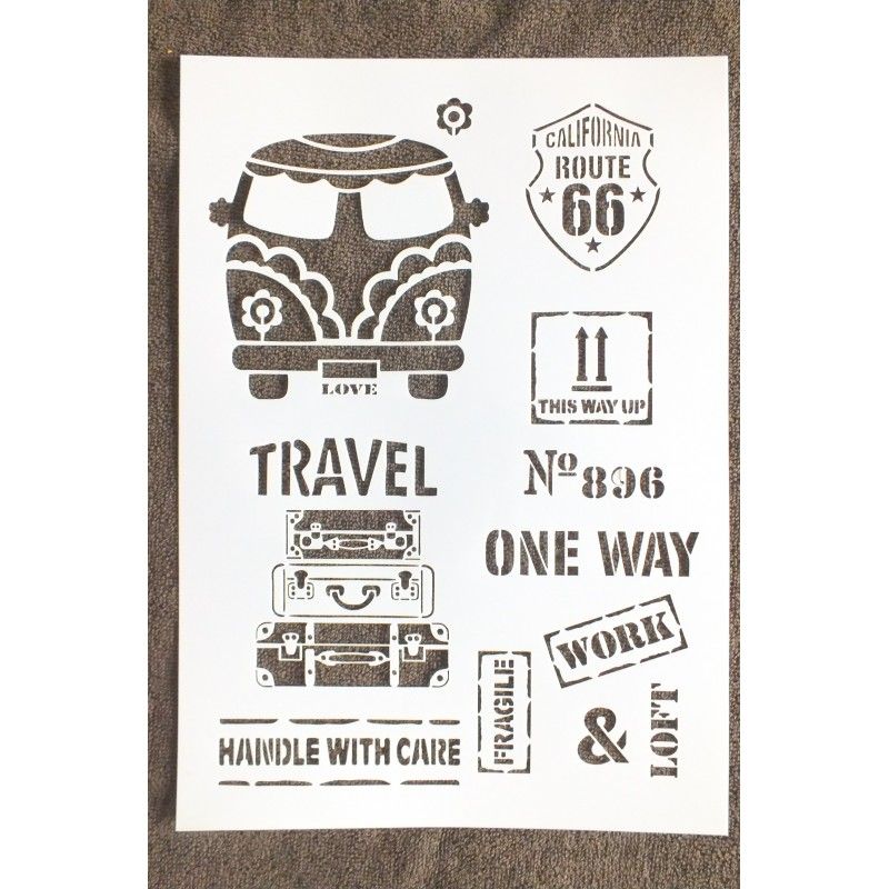 POCHOIR PLASTIQUE  Format A4 (21*29.7cm) motif vintage année 60/70 , US travel