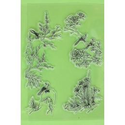4 Tampons en silicone transparent motifs : oiseaux de printemps