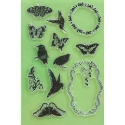 12 Tampons en silicone transparent motifs : oiseaux,cadres et papillons