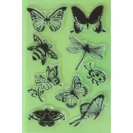 9 Tampons en silicone transparent motifs : Papillons libellule et coccinelle