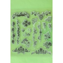 17 Tampons en silicone transparent  motifs : bordures fleuries