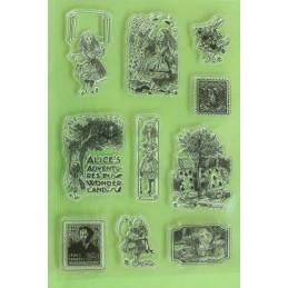 10 Tampons en silicone transparent  motifs : Alice aux pays des merveilles