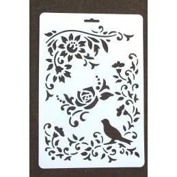 POCHOIR PLASTIQUE  Format  (21,3*31cm)  motif :  voluptes de roses, pensées..