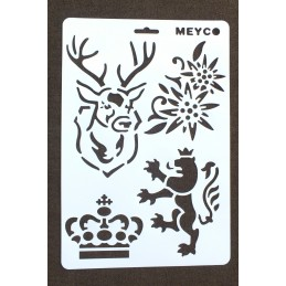 POCHOIR PLASTIQUE  Format  (21,3*31cm)  motif :  voluptes dangles fleurs et oiseau
