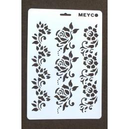 POCHOIR PLASTIQUE  Format  (21,3*31cm)  motif :  3 frises fleuries