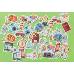 LOT DE 2 * 23 STICKERS : Souvenirs de voyages