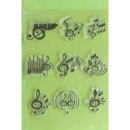 9 Tampons en silicone transparent  motifs : Notes ,portée, clés musicales