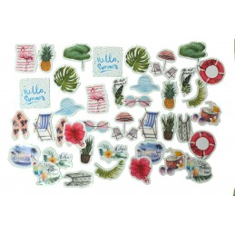 LOT DE 40 STICKERS  ( pack de 9 * 10 cm ): Thême bord de mer