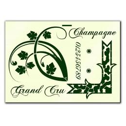POCHOIR PLASTIQUE  Format A4 (21*29.7cm) Grand cru de Champagne
