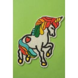 APPLIQUE TISSU THERMOCOLLANT : cheval licorne 60*45mm