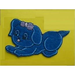 APPLIQUE TISSU THERMOCOLLANT : chien bleu 80 x60mm