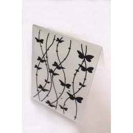 """Classeur d'embossage en plastique motif """" papillons sur tiges """" format  14.5*10.6*0.3 cm"""