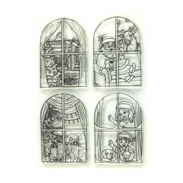 6 Tampons en silicone transparent  motifs : Noel derrière la fenêtre