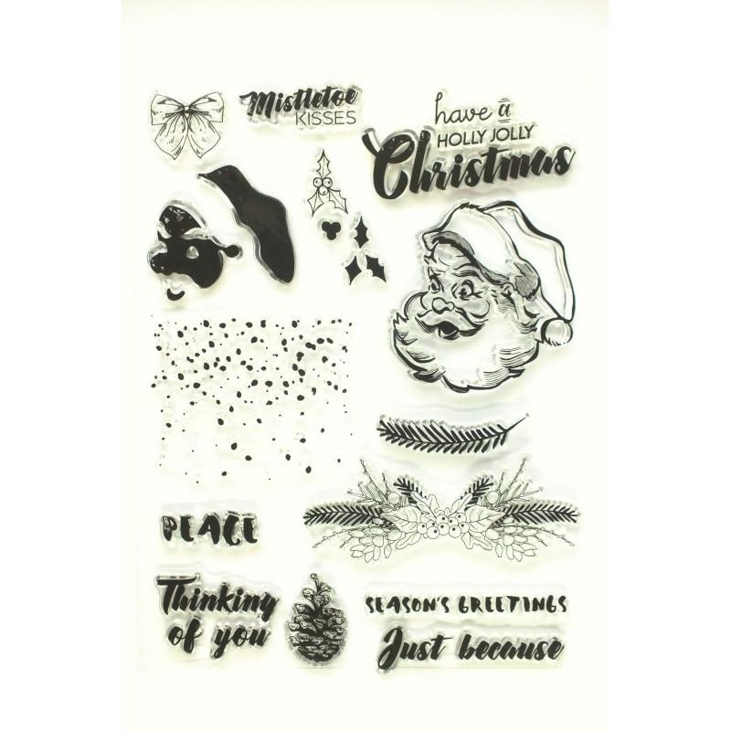 15 Tampons en silicone transparent  motifs : Noel