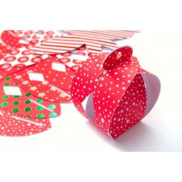6 mini-box de Noel en cardstock Rouge