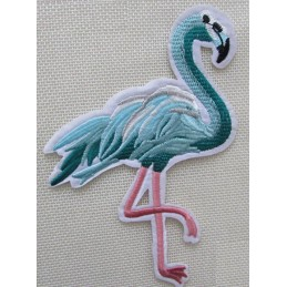 APPLIQUE TISSU THERMOCOLLANT : flamand rose 70*40mm