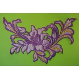 APPLIQUE TISSU THERMOCOLLANT : fleur bleu 210*120 mm