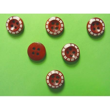 LOT 6 BOUTONS BOIS : rond fantaisie marron 13mm (02)