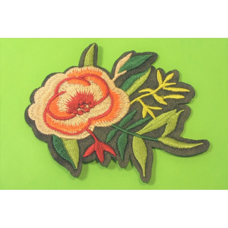 APPLIQUE TISSU THERMOCOLLANT : fleur 100 x60mm