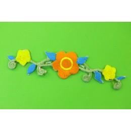 APPLIQUE TISSU THERMOCOLLANT : fleur 100*22mm (02)