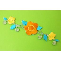 APPLIQUE TISSU THERMOCOLLANT : fleur 100*22mm (06)