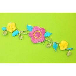 APPLIQUE TISSU THERMOCOLLANT : fleur 100*22mm (09)