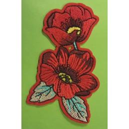 APPLIQUE TISSU THERMOCOLLANT : fleur 65 x50mm