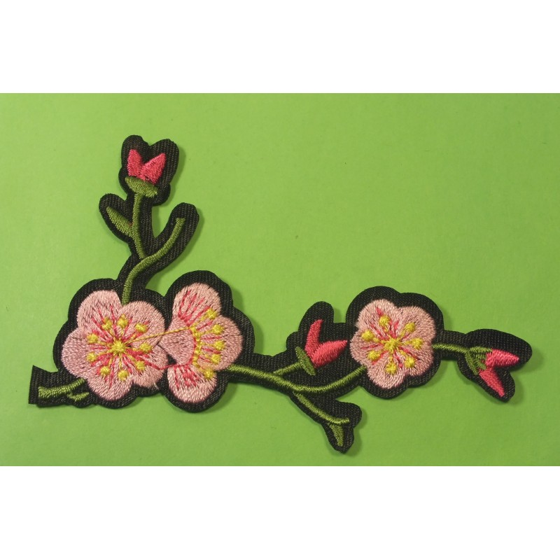 APPLIQUE TISSU THERMOCOLLANT : fleur rouge 110 x90mm