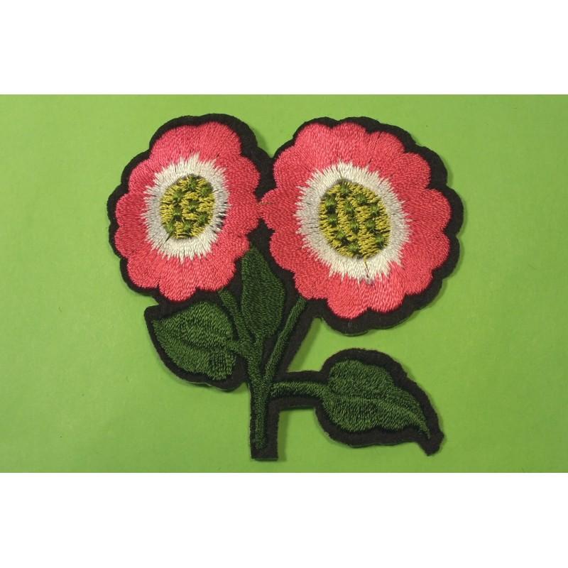 APPLIQUE TISSU THERMOCOLLANT : fleur rose 90 x60mm
