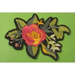 APPLIQUE TISSU THERMOCOLLANT : fleur rose/dorée 140 x120mm