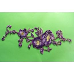 APPLIQUE TISSU THERMOCOLLANT : fleur mauve/dorée 250*100mm