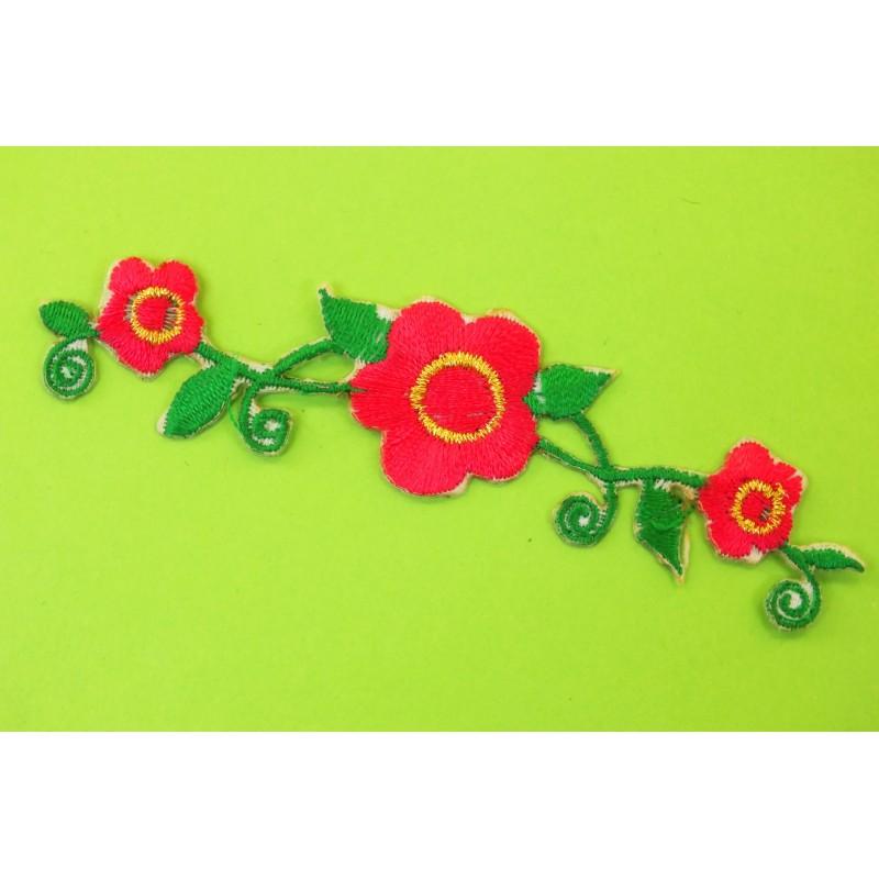 APPLIQUE TISSU THERMOCOLLANT : fleur orange 90 x60mm